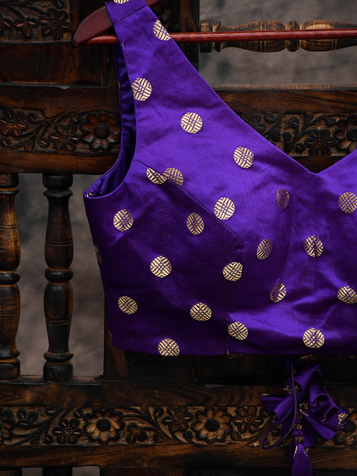 Purple Satin Silk Banarasi Blouse - Sacred Weaves
