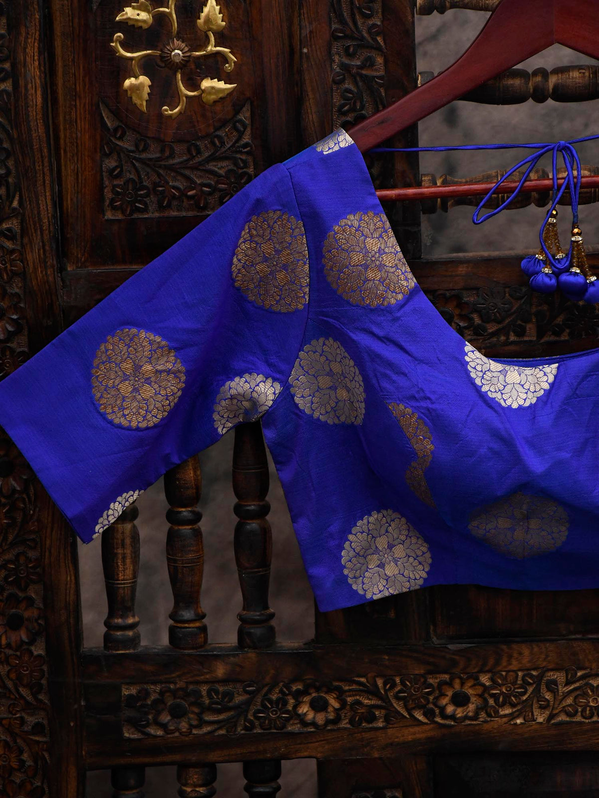 Royal Blue Uppada Silk Banarasi Blouse - Sacred Weaves