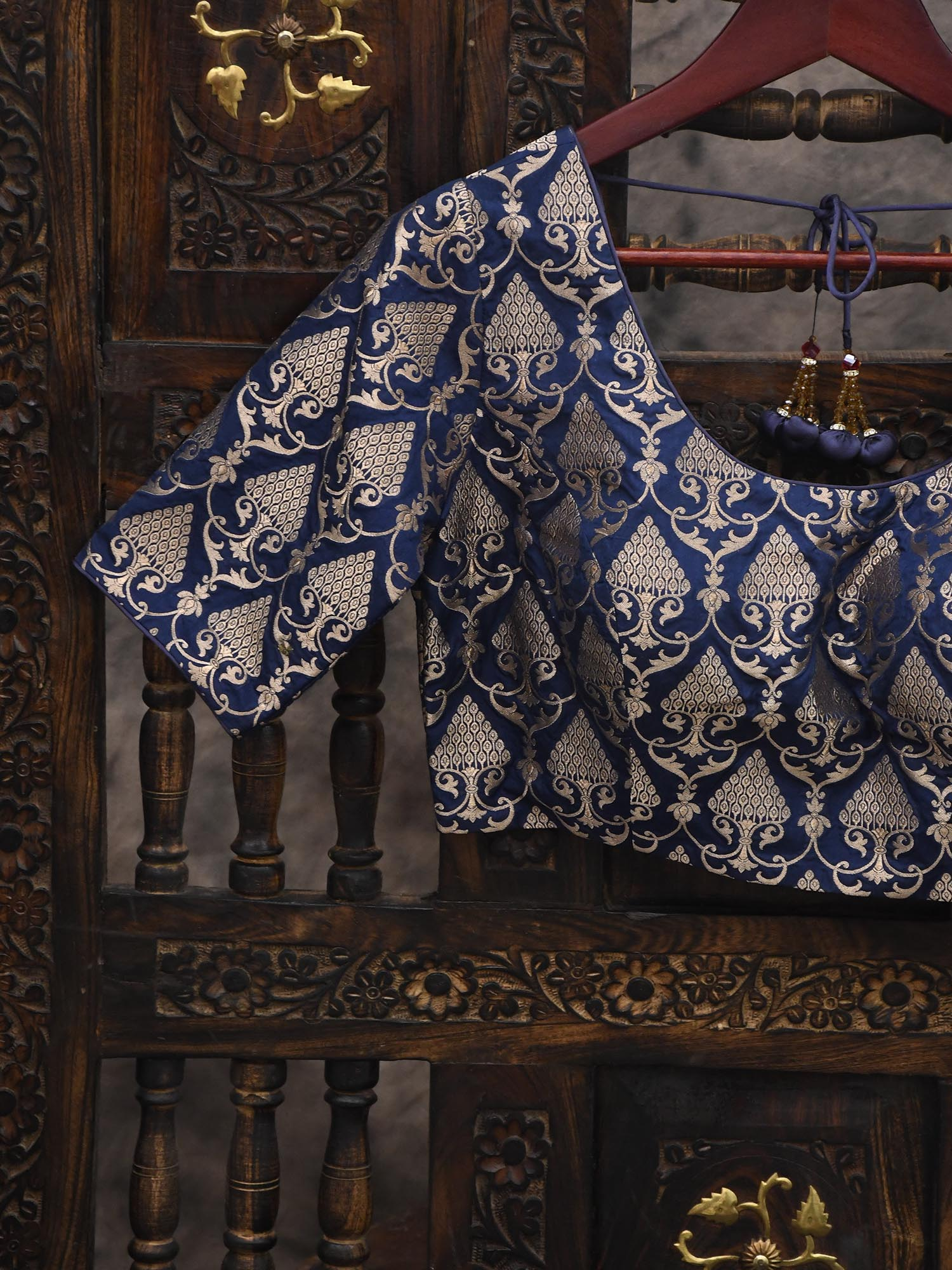 Blue Uppada Silk Banarasi Blouse - Sacred Weaves