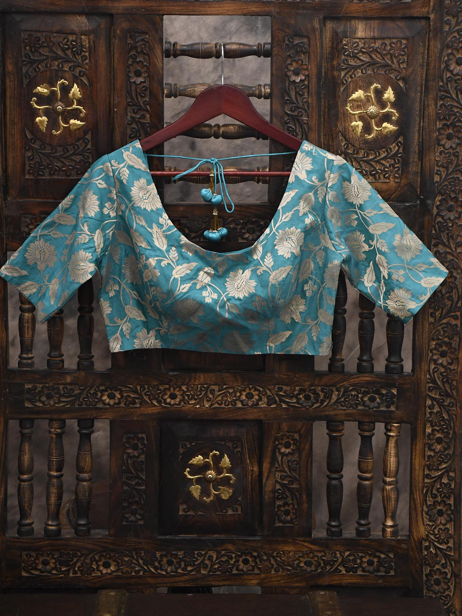 Teal Green Uppada Silk Banarasi Blouse - Sacred Weaves