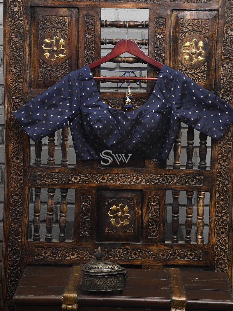 Navy Blue Silk Banarasi Ready-made Blouse - Sacred Weaves