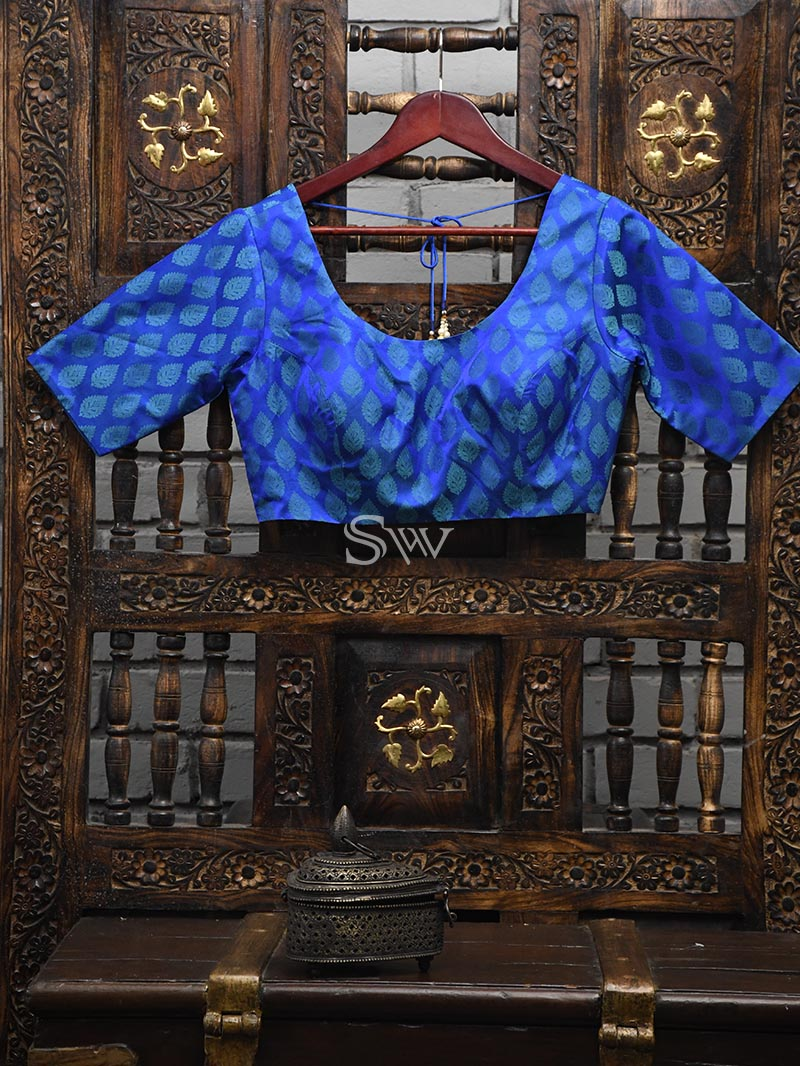 Blue Silk Banarasi Ready-made Blouse - Sacred Weaves
