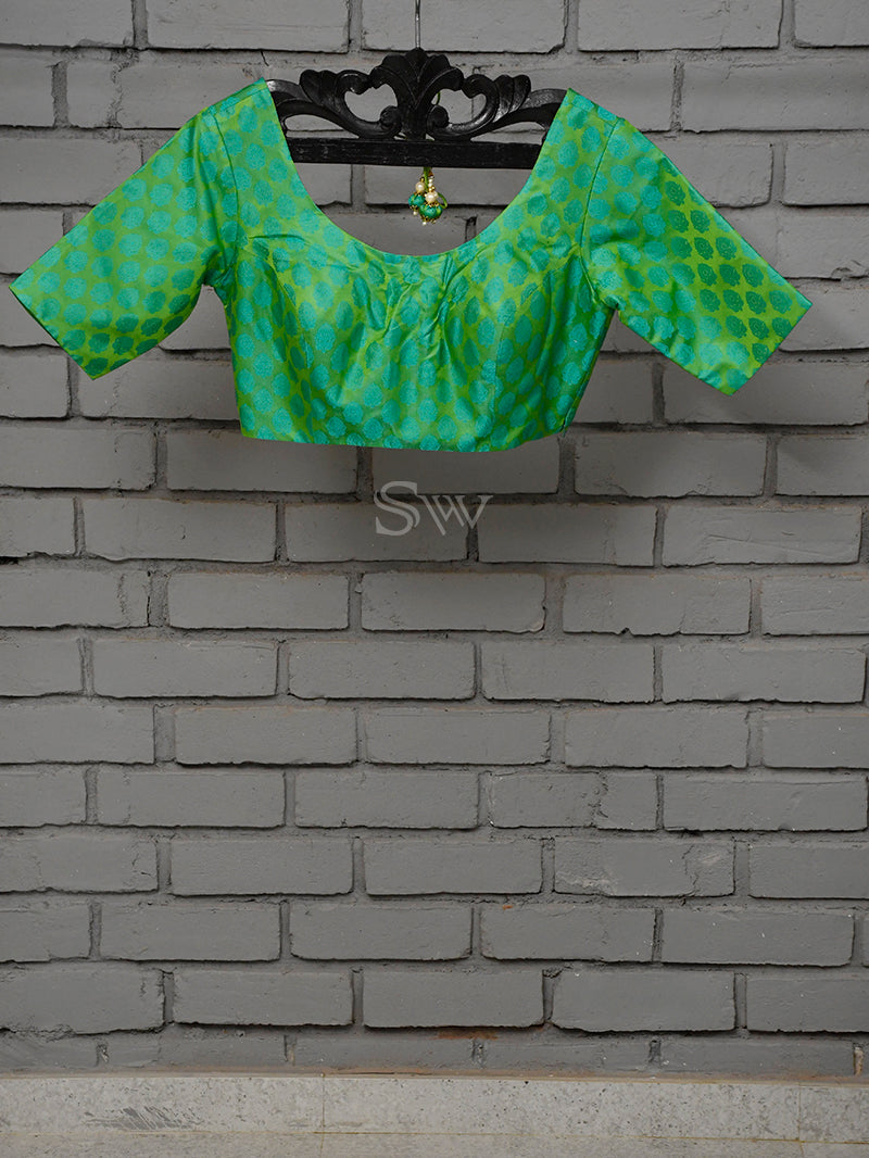 Green Tanchoi Silk Banarasi Ready-made Blouse - Sacred Weaves