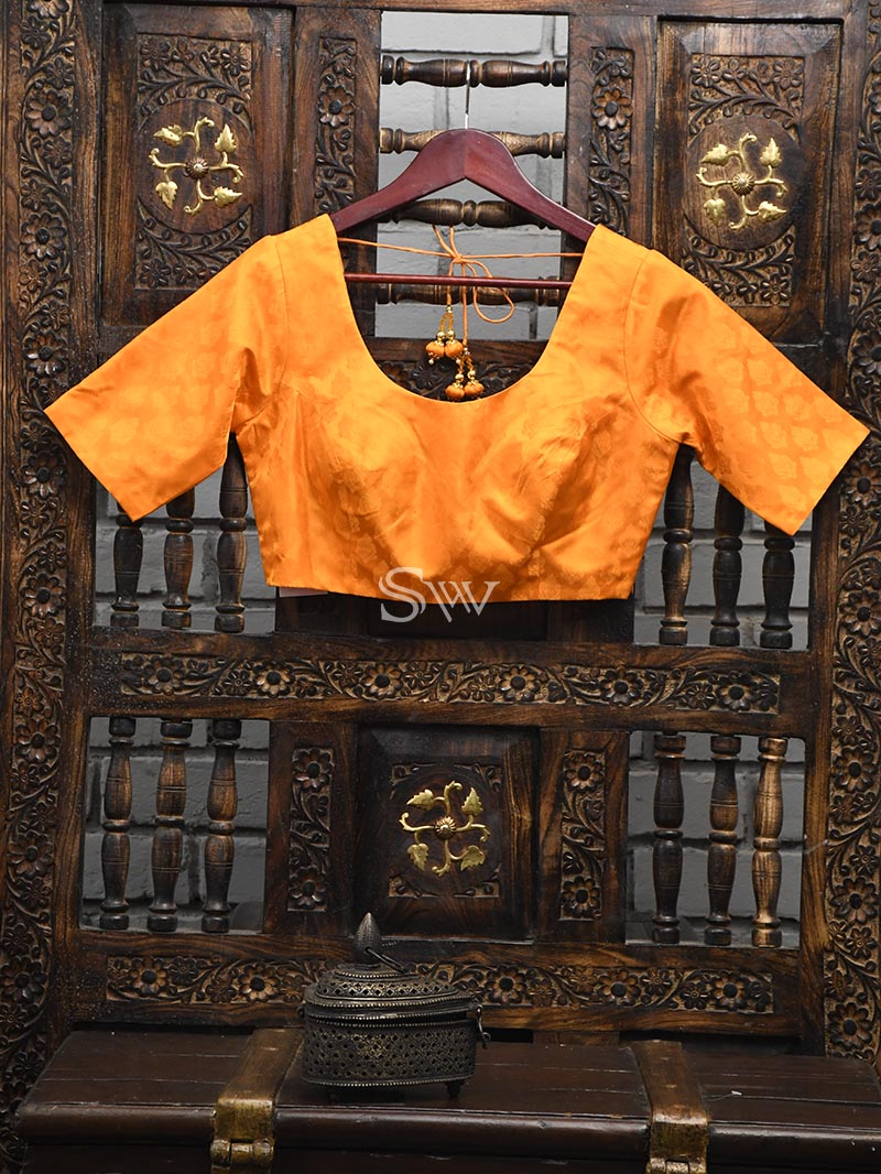 Orange Silk Banarasi Ready-made Blouse - Sacred Weaves
