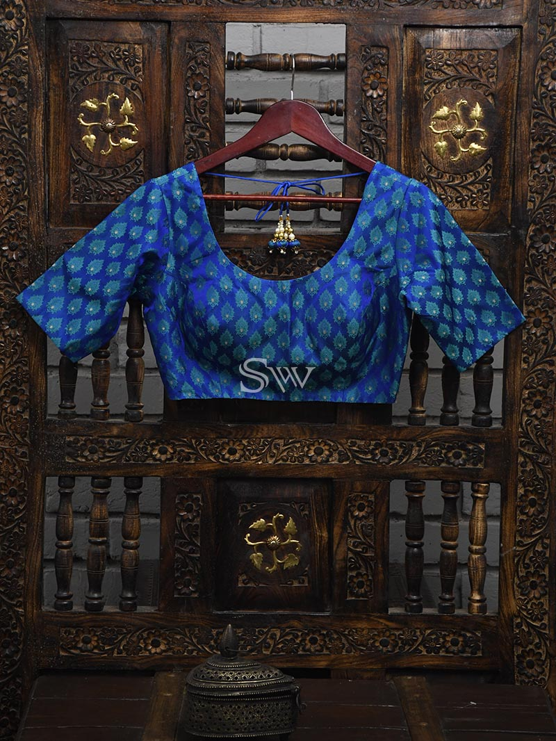 Blue Tanchoi Silk Banarasi Ready-made Blouse - Sacred Weaves
