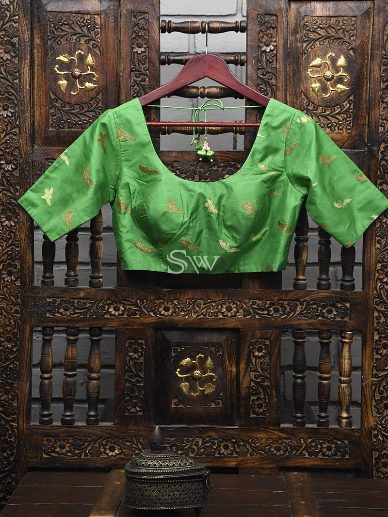Emerald Green Silk Banarasi Ready-made Blouse - Sacred Weaves