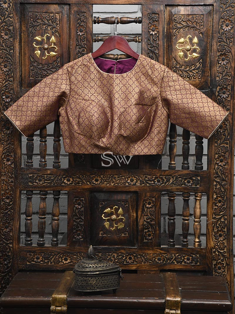 Dark Purple Silk Banarasi Ready-made Blouse - Sacred Weaves
