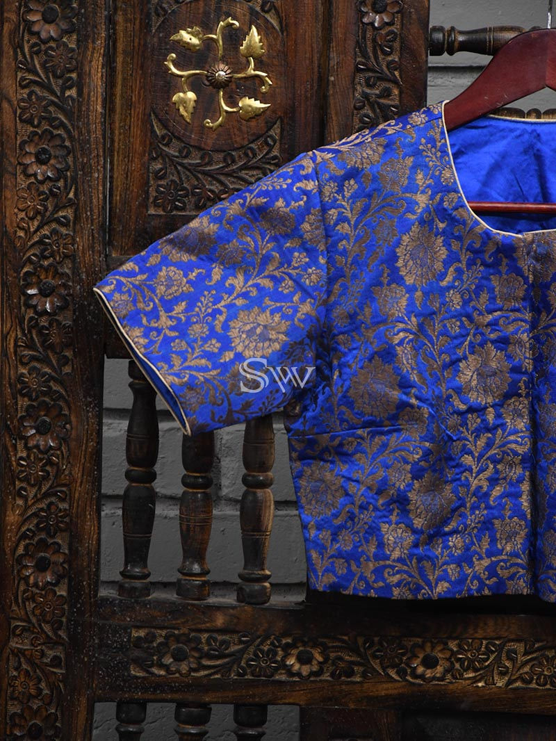 Royal Blue Uppada Silk Banarasi Ready-made Blouse - Sacred Weaves
