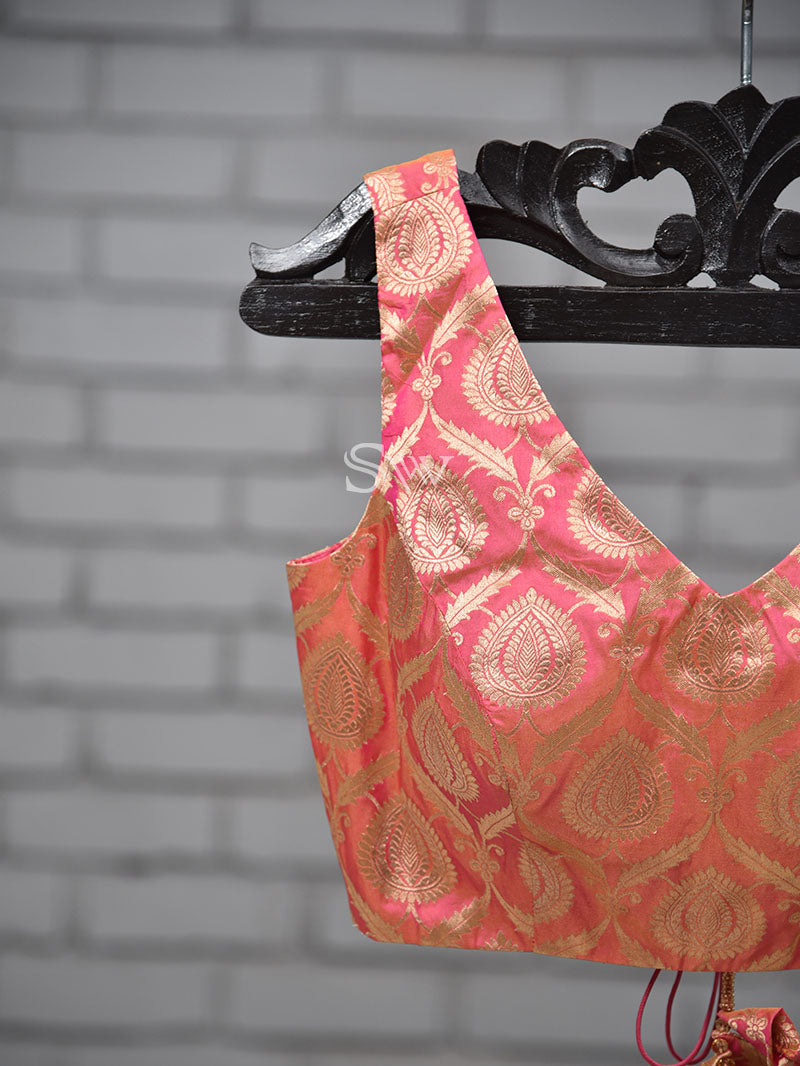 Pink Uppada Silk Banarasi Ready-made Blouse - Sacred Weaves