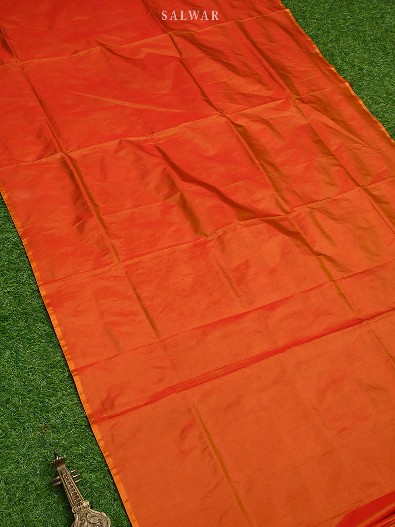 Orange Katan Silk Handloom Banarasi Suit - Sacred Weaves