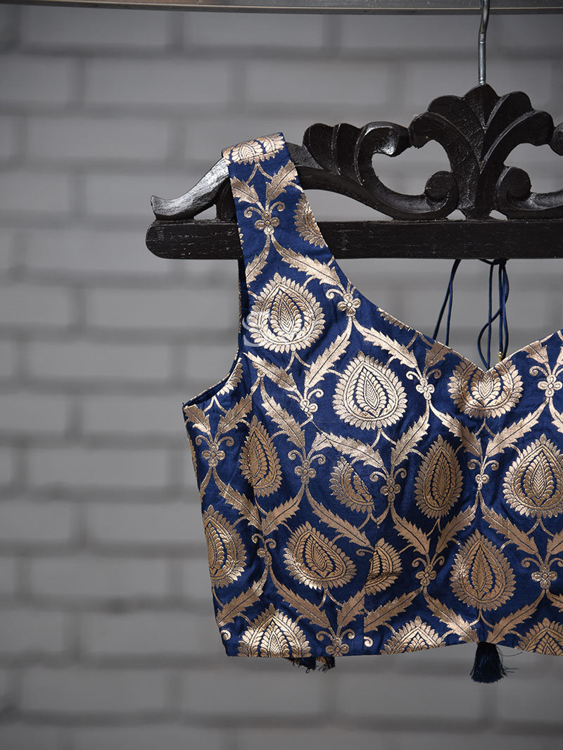 Navy Blue Uppada Silk Banarasi Ready-made Blouse - Sacred Weaves