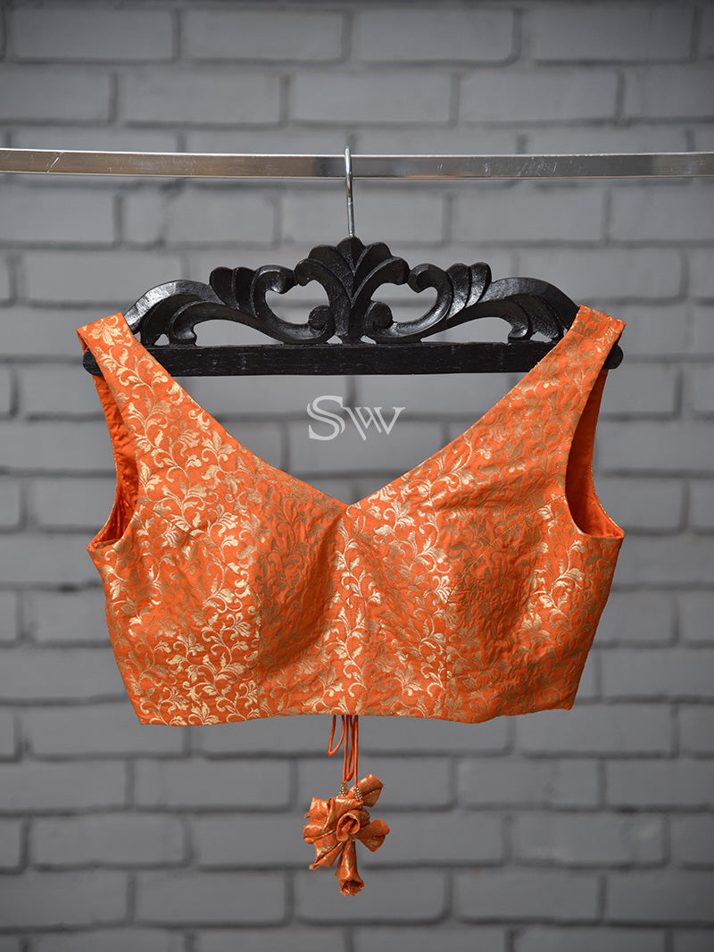 Dark Orange Silk Banarasi Ready-made Blouse - Sacred Weaves