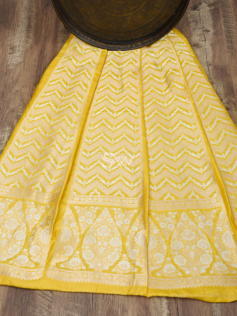 Yellow Handloom Banarasi Lehenga - Sacred Weaves