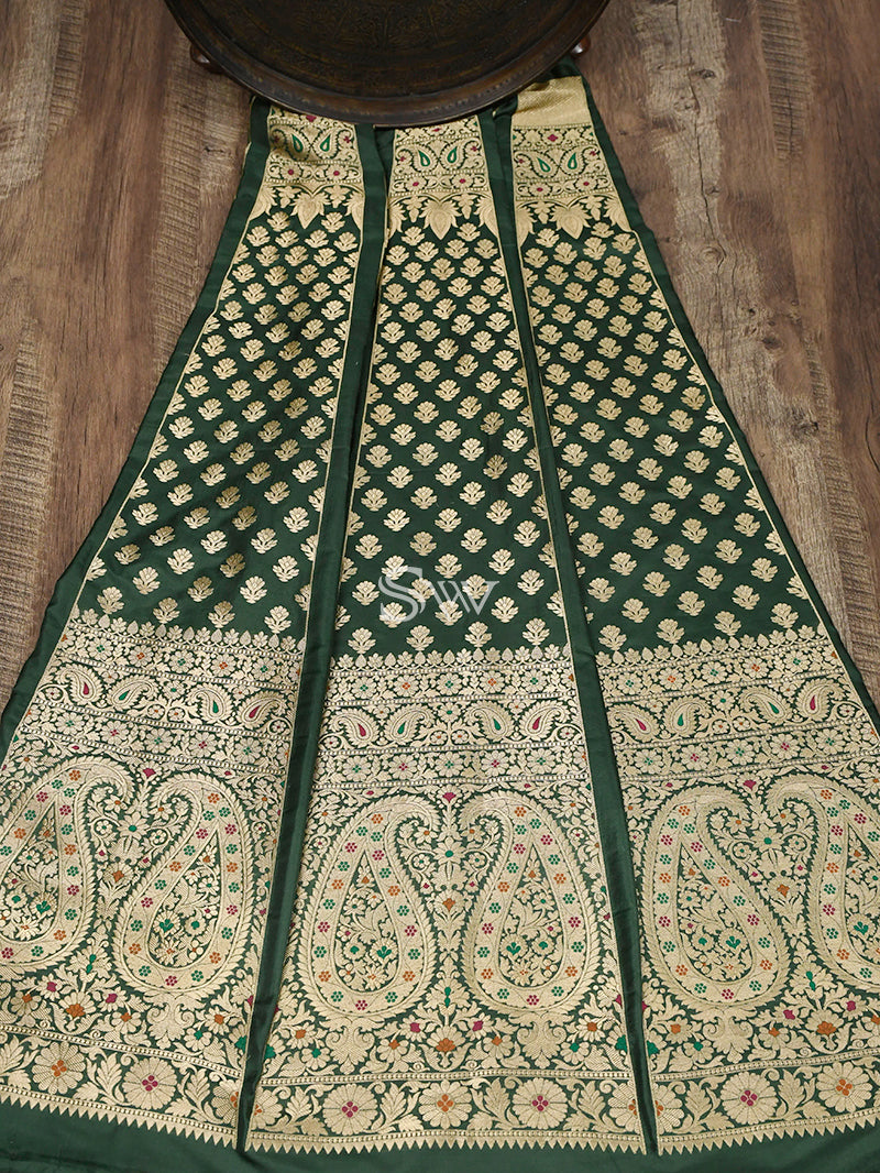 Bottle Green Meenakari Handloom Banarasi Lehenga - Sacred Weaves