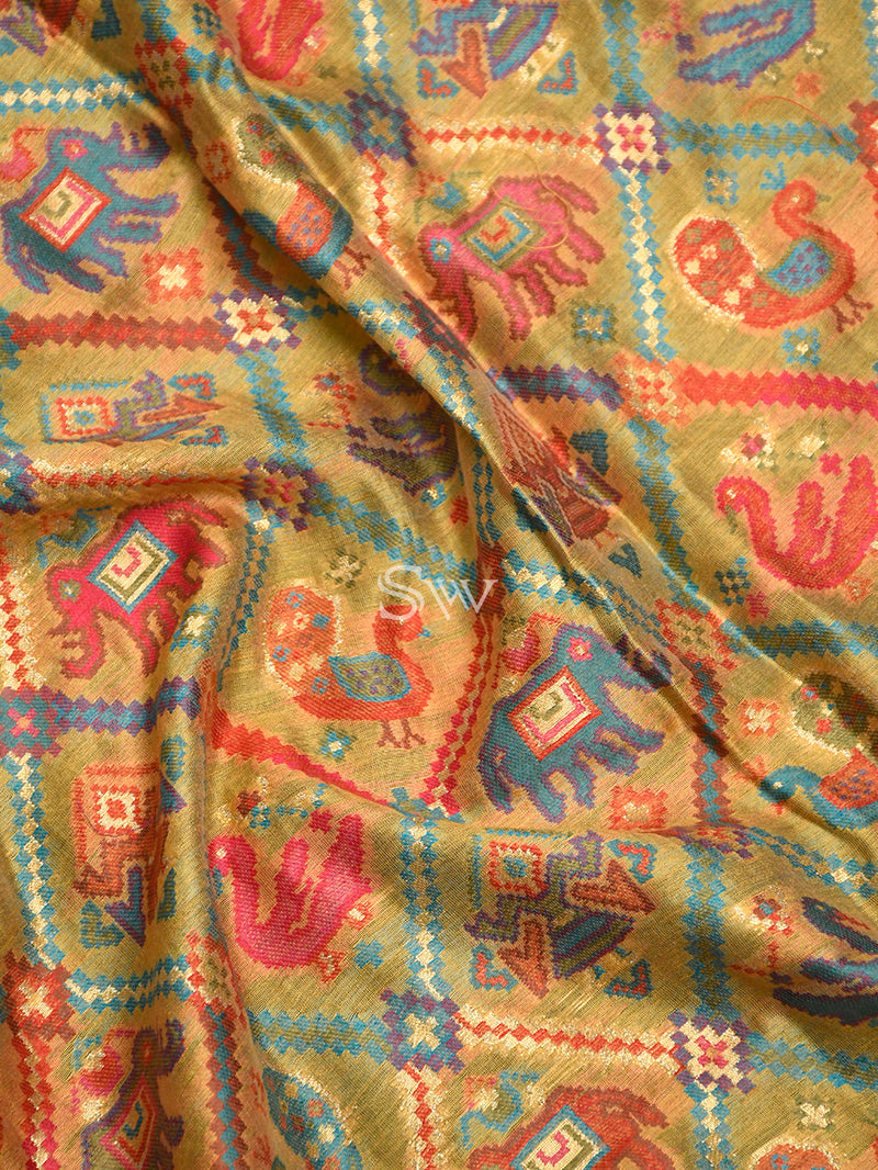 Yellow Pashmina Moonga Silk Handloom Banarasi Dupatta - Sacred Weaves