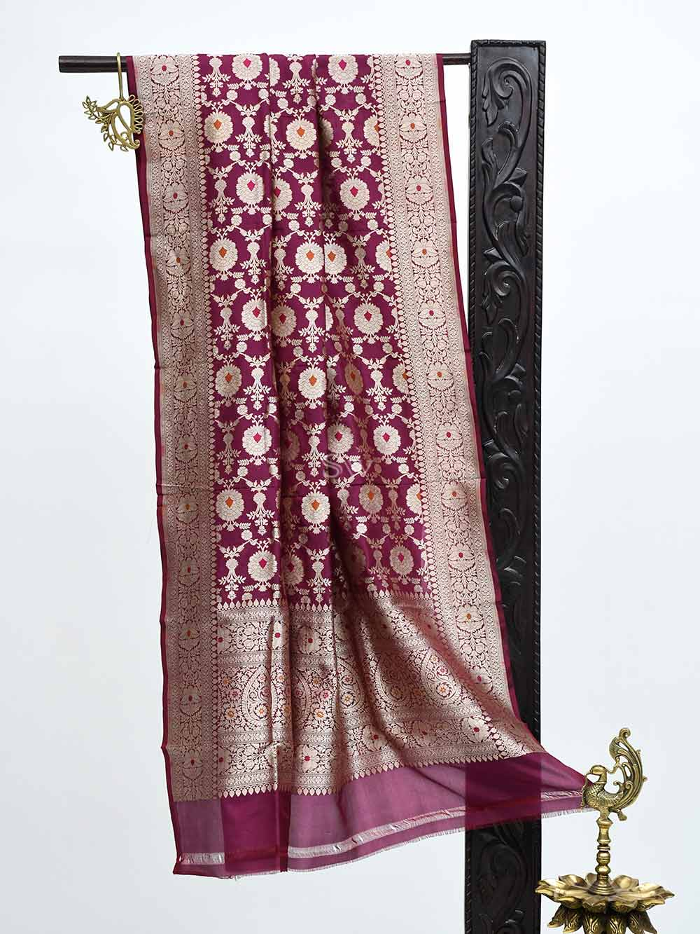 Dark Purple Jaal Katan Silk Handloom Banarasi Dupatta - Sacred Weaves