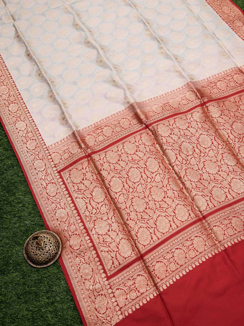 Classic White Color Leaf Zari Boota Pure Katan Silk Banarasi Saree - Sacred Weaves