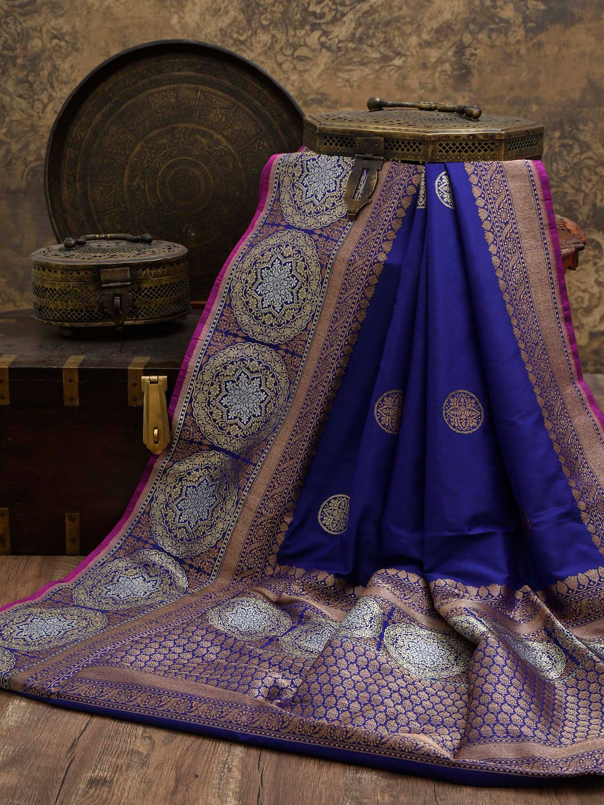 Royal Blue Katan Silk Handloom Banarasi Saree - Sacred Weaves