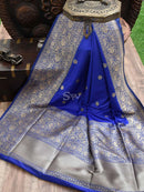 Royal Blue Color Brocade Broad Border Pallu Pure Dupion Silk Banarasi Saree - Sacred Weaves