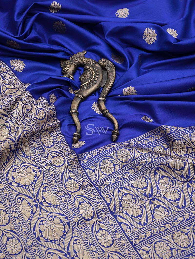 Royal Blue Dupion Silk Handloom Banarasi Saree -Sacred Weaves