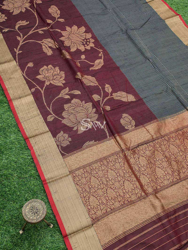 Black Brown Color Stripe Pure Tusser Silk Antique Zari Motif Banarasi Saree - Sacred Weaves