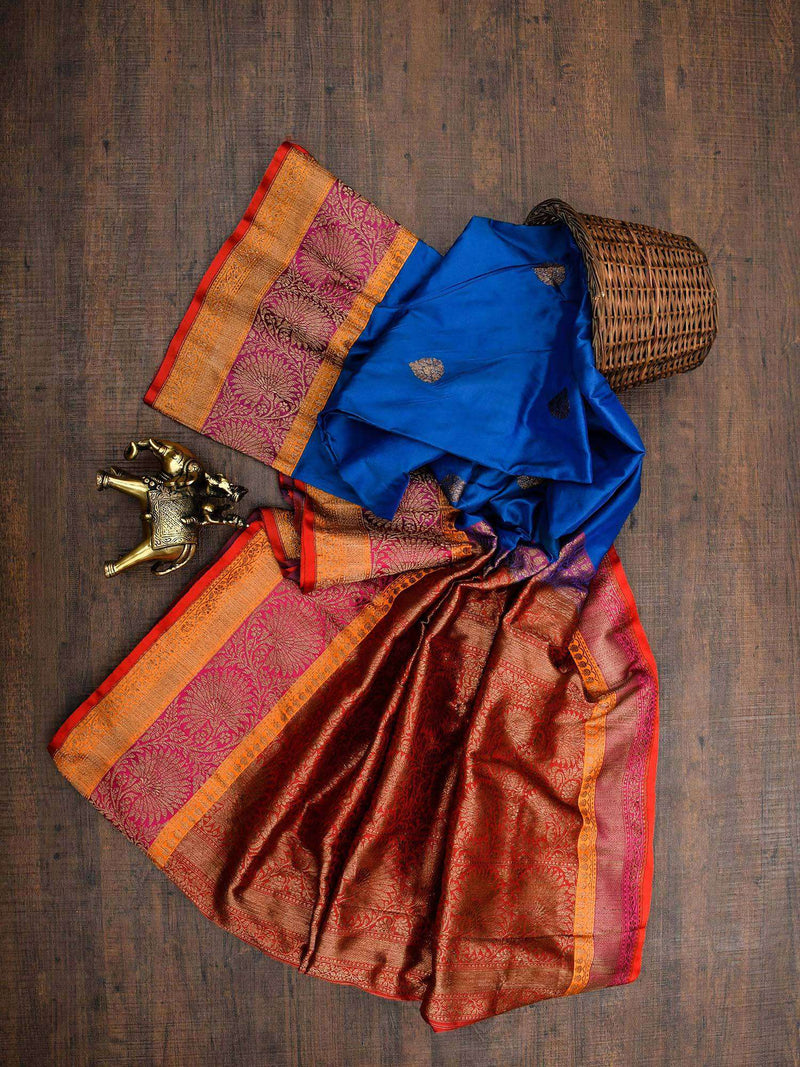 Royal Blue Color Antique Zari Border Pure Katan Silk Banarasi Saree-Sacred Weaves