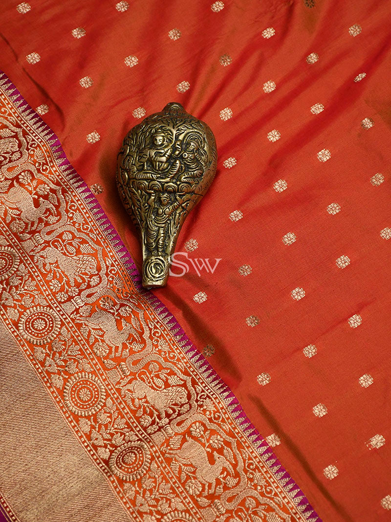 Orange Katan Silk Handloom Banarasi Saree - Sacred Weaves