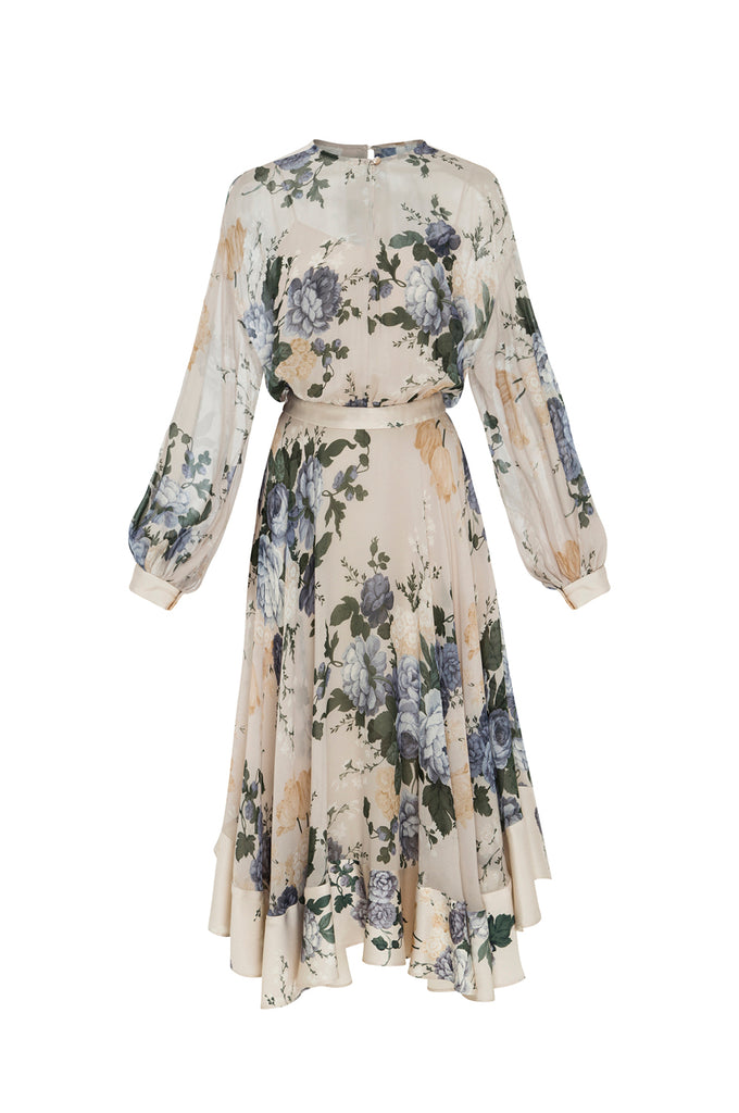 Peony Georgette Midi Dress Bone 1