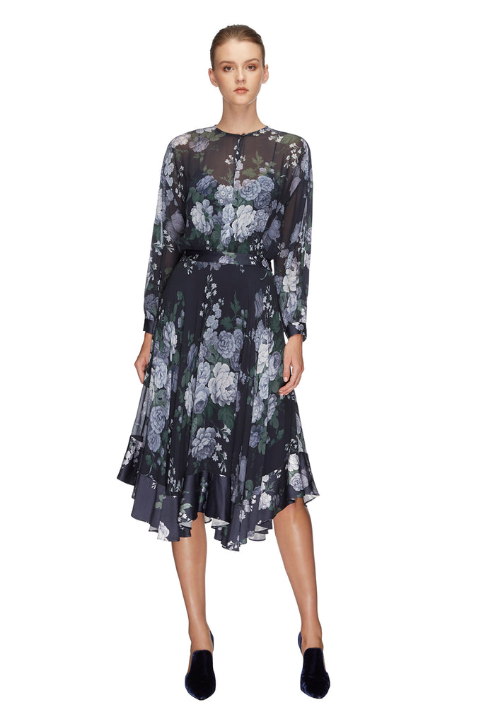 Peony Georgette Midi Dress Navy 3