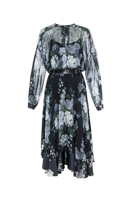 Peony Georgette Midi Dress Navy 1
