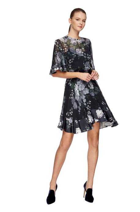 Peony Georgette Mini Dress Navy 1