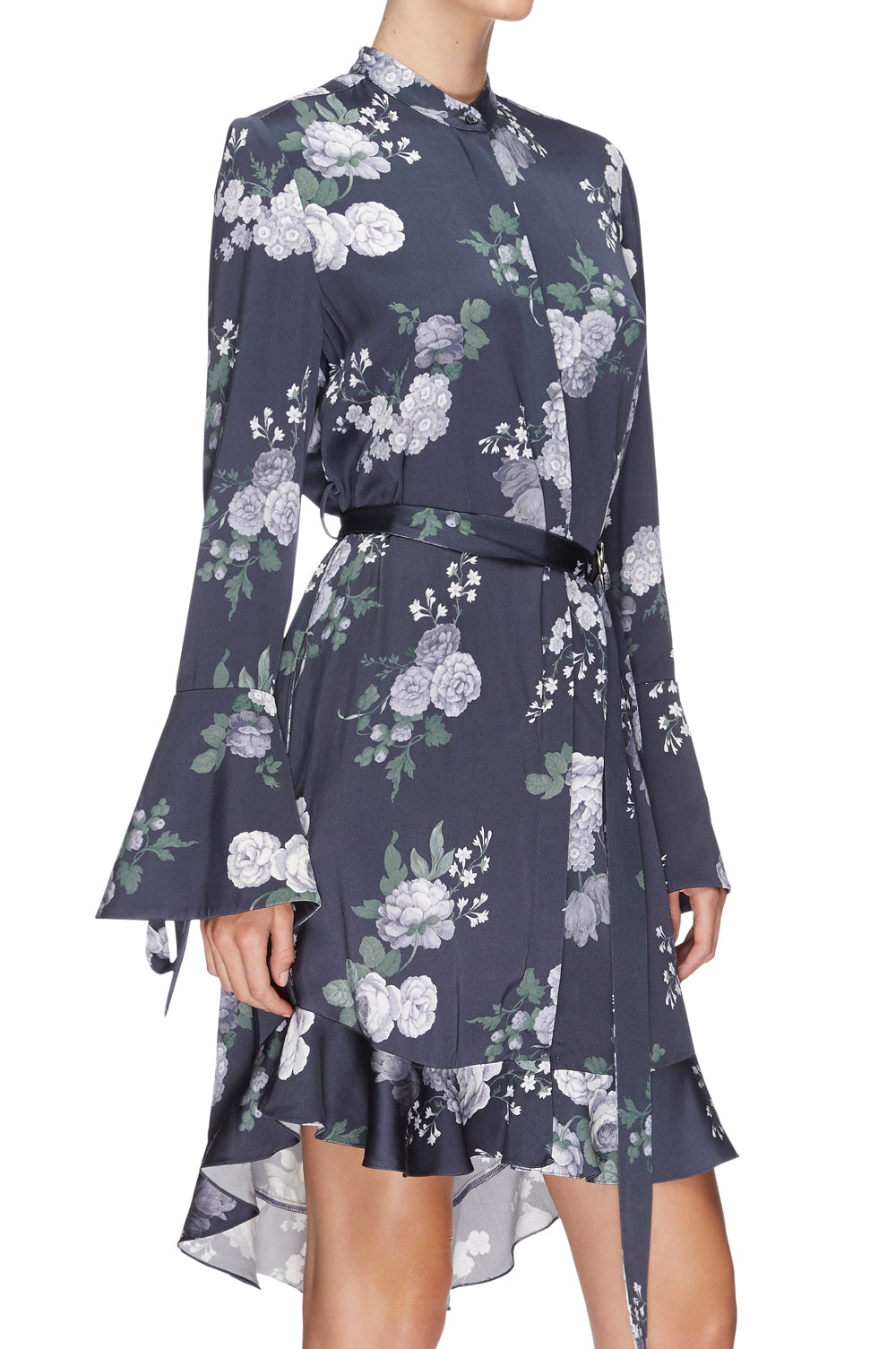 Peony Satin Shirt Dress