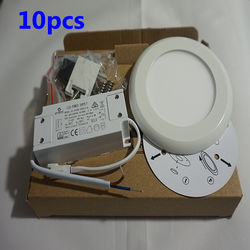 10pcs  LED Panel Light Ceiling Downlight Round Surface Mount 4000K Wall Lamp - DK-Digital