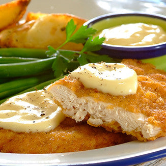 10th August Lunch Menu : Schnitzel with potatoes and white sauce paired Strawberries and Celery