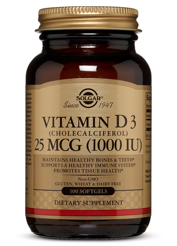Vitamin D3 (Cholecalciferol) 25 mCG (1000 IU) Softgels