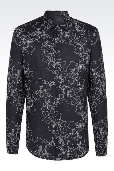 EMPORIO ARMANI Printed Long Sleeve Shirt - NAVY