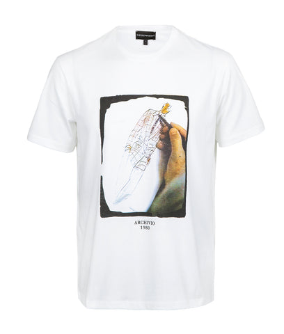 Emporio Armani Graphix Sketch T-Shirt - White