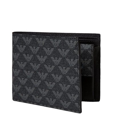 Emporio Armani Logo Leather Wallet - Black