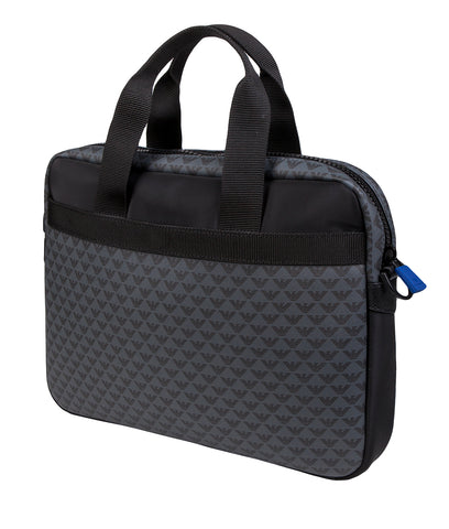 EMPORIO ARMANI  briefcase bag, all over logo print - Black