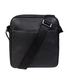 EMPORIO ARMANI Grain Leather Cross Body Messenger Bag - BLACK