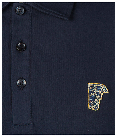 VERSACE  - Half Medusa Cotton Polo Shirt V800708 - Navy