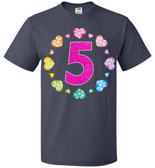 5th Birthday T Shirt For Girls Shiny Hearts Princess Five