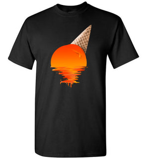 Sunset Tshirt   'Sunset Ice Cream' Image on black ceramic 11oz mug
