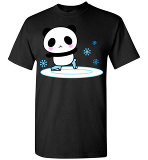 Panda Ice Skate Cute Blush Emoji Face Happy Gift Tee