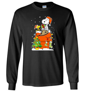 Anaheim duckUgly Christmas Sweaters Snoopy Woodstock - Long Sleeve T-Shirt