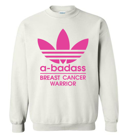 a badass breast cancer warior, a badass cancer - Gildan Crewneck Sweatshirt