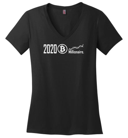 2020 Bitcoin Millionaire T Shirt - Ladies Weight V-Neck