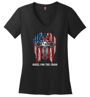 1 stand for the flag kneel for the cross, South Carolina Gamecocks - Ladies Weight V-Neck