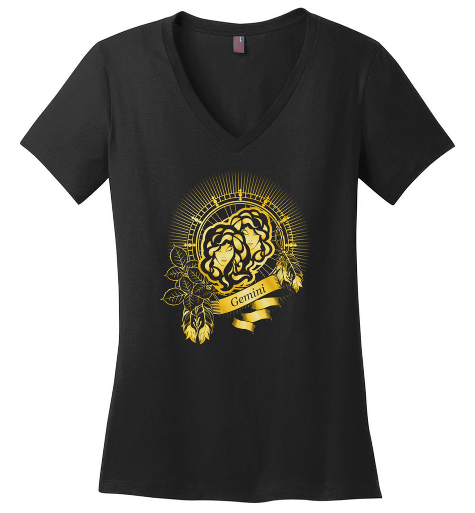 Zodiac sign Gemini emblem vintage frame with feathers gold - Ladies Weight V-Neck
