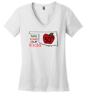 50th We love our kids - Ladies Weight V-Neck